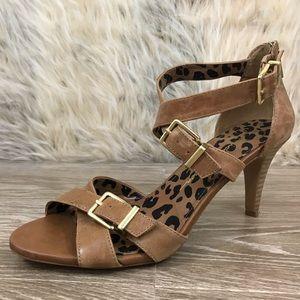 Jessica Simpson Eugenias brown leather heel sandal